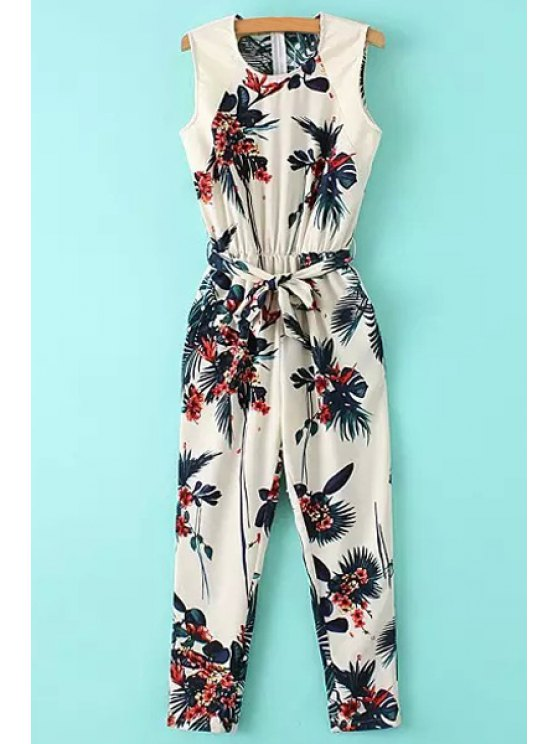 affordable Leaf Print Sleeveless Jumpsuit - COLORMIX S