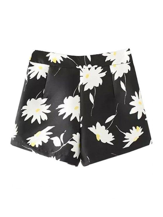 affordable Flower Print Shorts - BLACK S