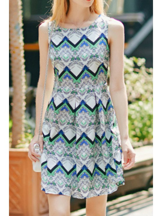 unique Color Block Zig Zag Dress - COLORMIX S