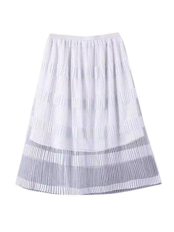 women Solor Color Stripe Ruffle Skirt - WHITE S