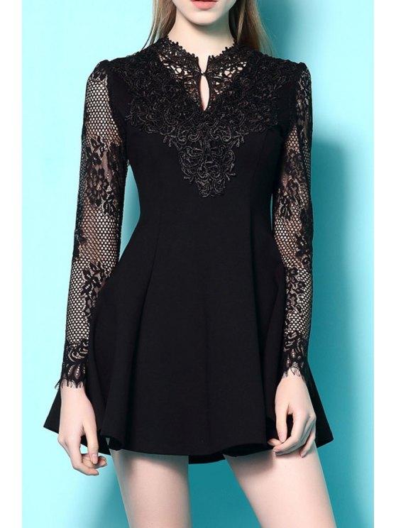 buy Lace Spliced Long Sleeve A Line Dress - BLACK S