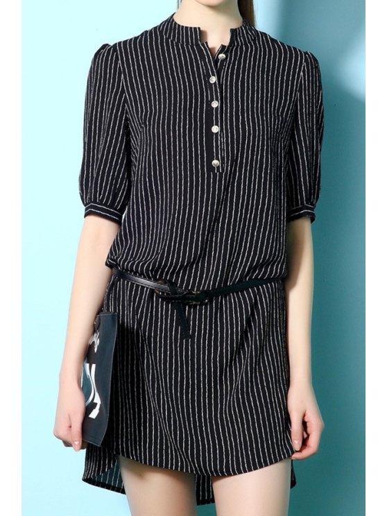 fancy Stripe Stand Neck Half Sleeve Dress - BLACK S