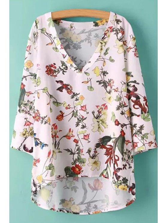 ladies Floral Bird Print High Low Half Sleeve Shirt - WHITE S