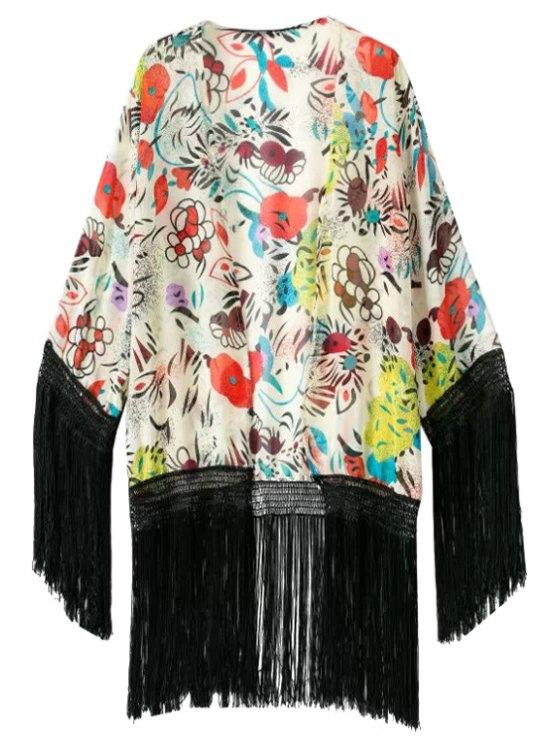 online Floral Print Black Fringe Splicing Kimono - COLORMIX S