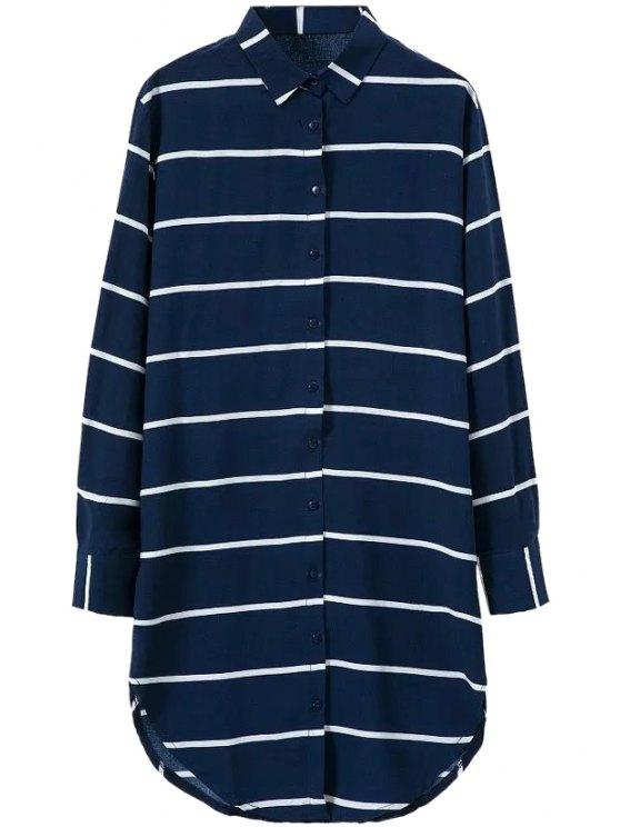 online Polo Collar Stripe Long Sleeve Shirt Dress - BLUE S