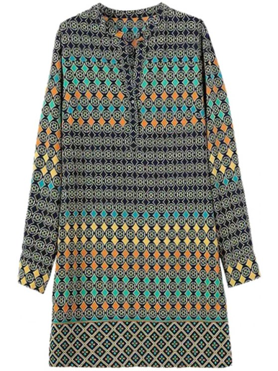 outfits Argyle Round Pattern Long Sleeve Dress - COLORMIX S