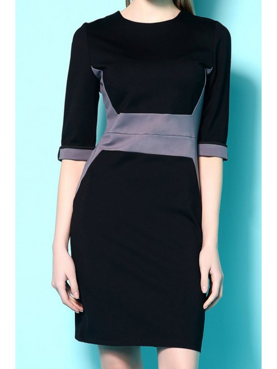 outfits Half Sleeves Color Block Dress - BLACK S