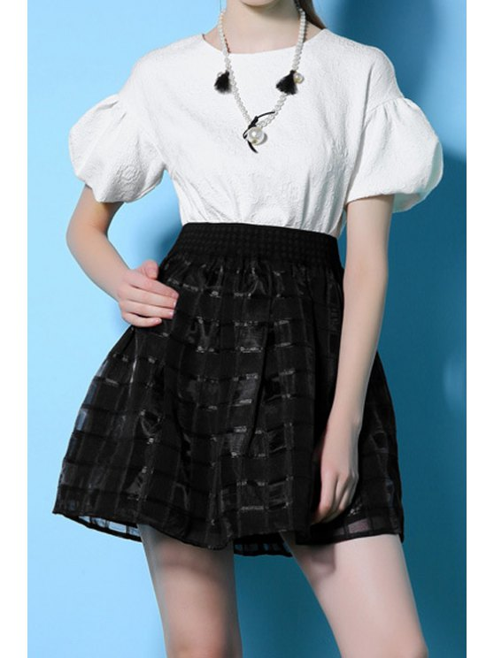 best Voile Checked Spliced A-Line Dress - WHITE AND BLACK S
