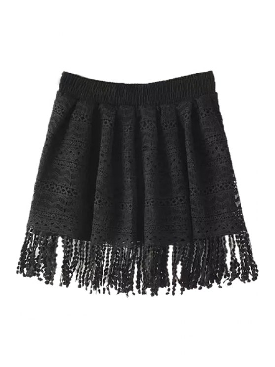 shop Hollow Out Tassels Pantskirt - BLACK ONE SIZE(FIT SIZE XS TO M)