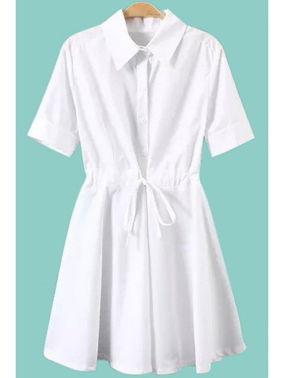 shop Turn-Down Collar Solid Color Tie-Up Ruffle Dress - WHITE S