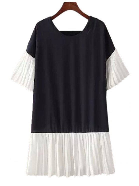 latest Pleated Spliced Short Sleeves Dress - CADETBLUE ONE SIZE(FIT SIZE XS TO M)