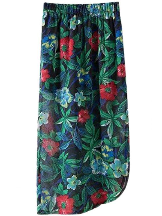 buy Floral Leaves Print Asymmetrical Long Skirt - COLORMIX M