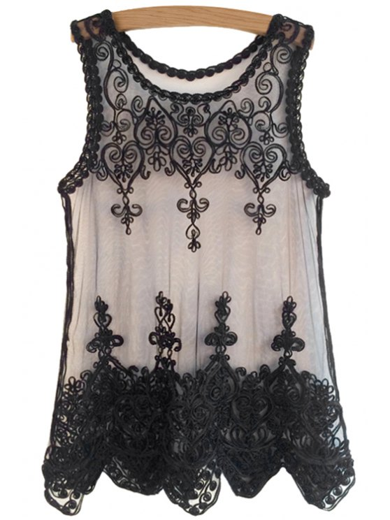 lady Black Lace Embroidery Sleeveless Tank Top - BLACK ONE SIZE(FIT SIZE XS TO M)