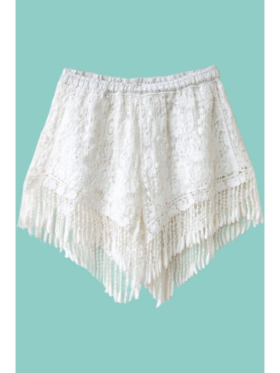 fancy Solid Color Fringe Lace Shorts - WHITE ONE SIZE(FIT SIZE XS TO M)