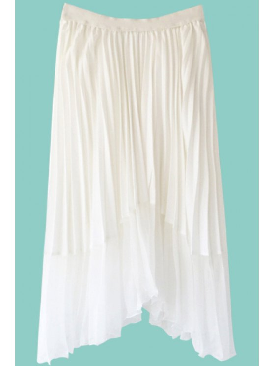 hot Solid Color Asymmetrical Long Skirt - WHITE ONE SIZE(FIT SIZE XS TO M)