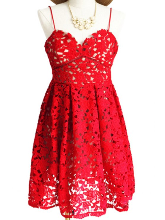 shops Spaghetti Strap Floral Pattern Openwork Dress - RED S