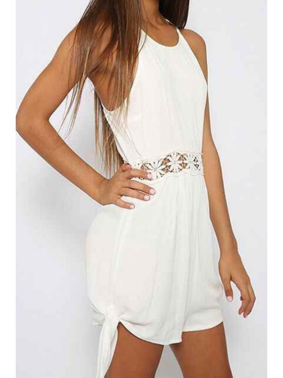 affordable Backless Waist Floral Openwork Sleeveless Romper - WHITE S