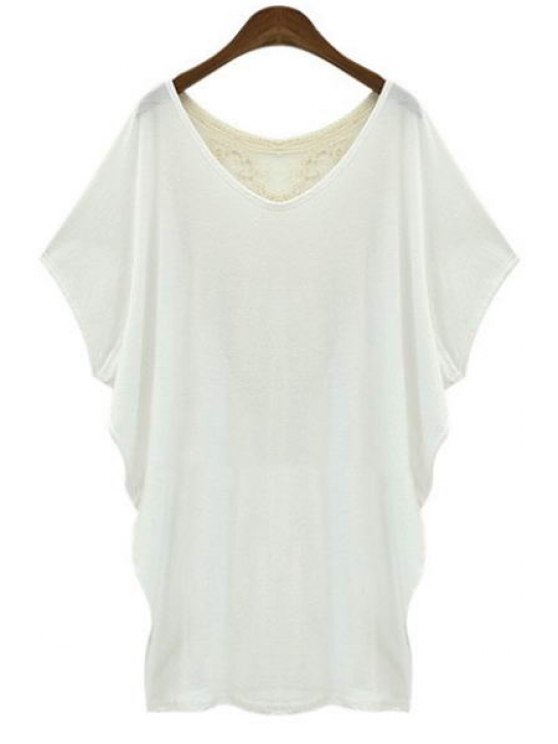 shops Back Lace Splicing See-Through Short Sleeve T-Shirt - WHITE S