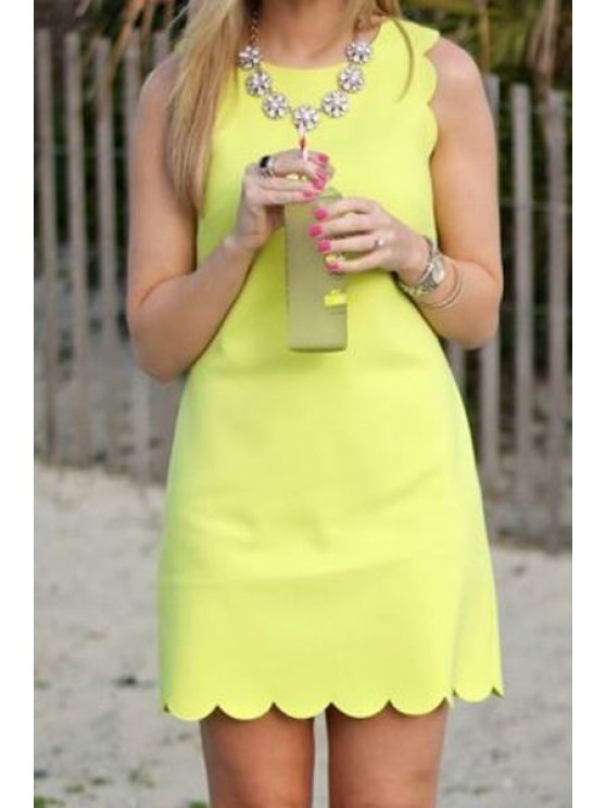 affordable Solid Color Ripple Edging Sleeveless Dress - LIGHT YELLOW S
