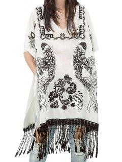 Short Sleeve Embroidery Tassels Spliced Blouse - White