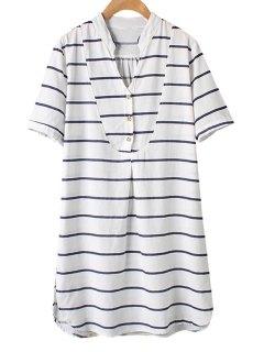 Stripe Side Slit Short Sleeve Dress - M