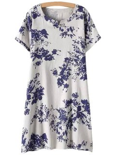 Jewel Neck Blue Floral Print Dress - White Xl