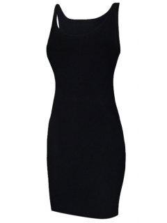 Solid Color Sleeveless Bodycon Sundress - Black S
