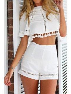 Openwrok Tassel Short Sleeve Crop Top + Shorts - White Xl