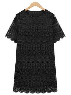 Polka Dot Solid Color Lace Short Sleeve Dress - Black Xl