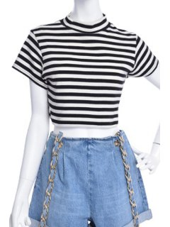 Turtle Neck Striped Crop Top - White And Black S