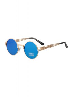 Alloy Round Frame Sunglasses - Blue