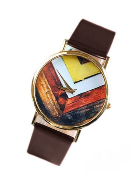 new Geometric Pattern Watch - BROWN  Mobile