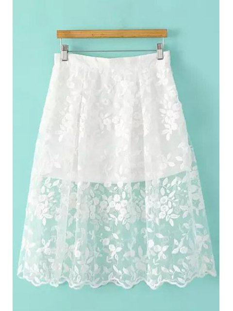 buy Floral Pattern Embroidery Skirt - WHITE S Mobile