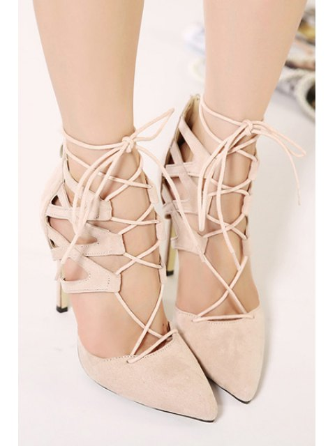 buy Pointed Toed Solid Color Lace-Up Pumps - APRICOT 36 Mobile