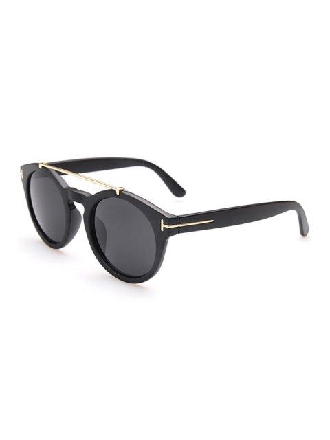 affordable Alloy Embellished Matte Black Sunglasses - BLACK  Mobile