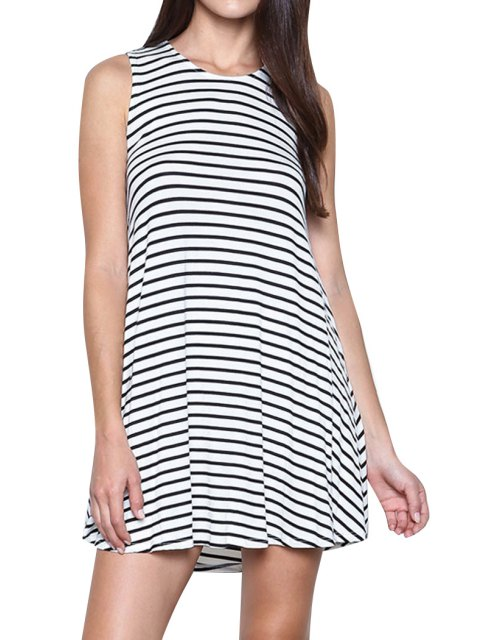 online Cut Out A-Line Stripes Dress - WHITE AND BLACK XL Mobile