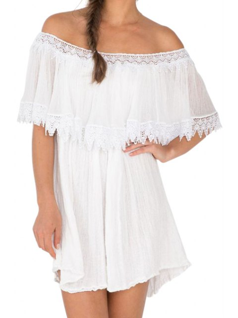 affordable Slash Neck A-Line Ruffled Lace Spliced Dress - WHITE L Mobile