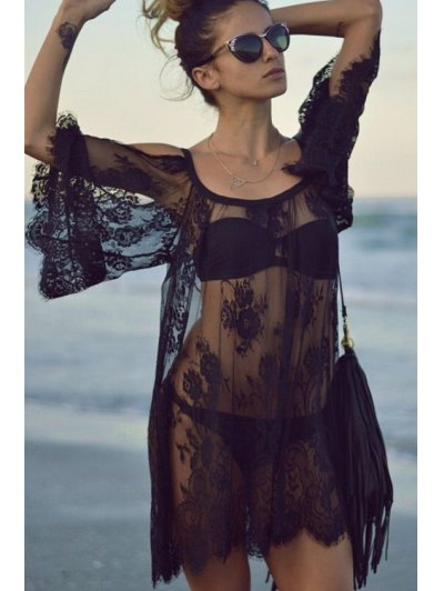 See-Through Floral Pattern Lace Cover-Up - Black