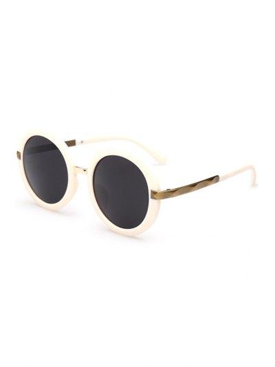 Unsmooth Alloy Splice Round Sunglasses - Off-white