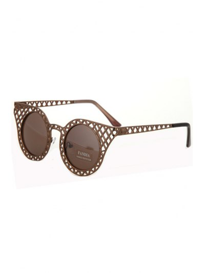 Hollow Out Mesh Sunglasses - Bronze-colored