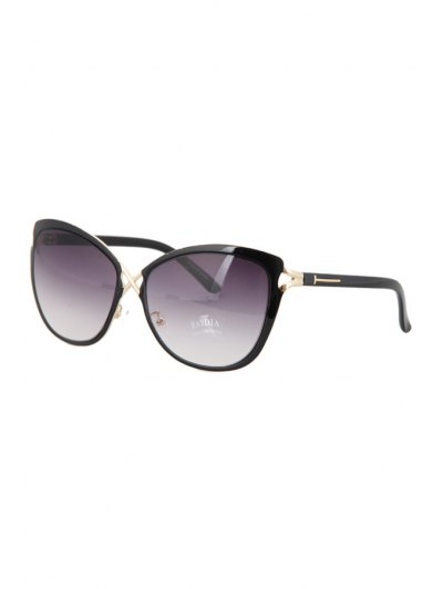 Hollow Out Cross Sunglasses - Black