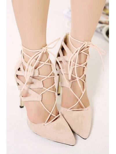 Pointed Toed Solid Color Lace-Up Pumps - APRICOT 36 Mobile