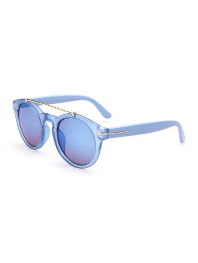 Alloy Embellished Solid Color Sunglasses - Blue
