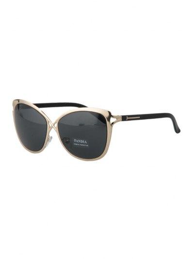 Hollow Out Golden Cross Sunglasses - Deep Gray