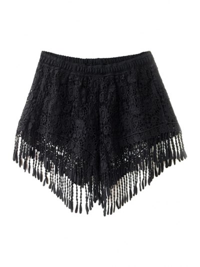 Solid Color Fringe Lace Shorts - Black One Size(fit Size Xs To M)