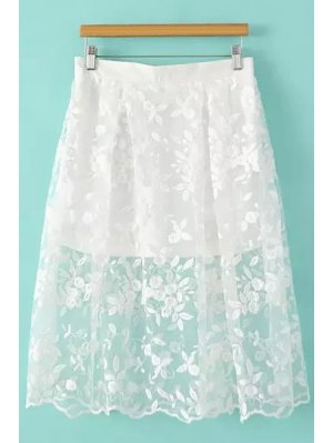 Floral Pattern Embroidery Skirt - White