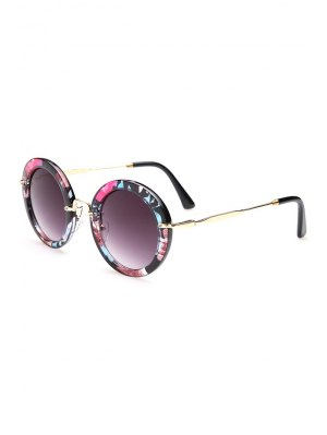 Flower Pattern Round Sunglasses - Black