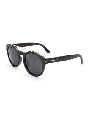 Aleación Embellished Mate Negro Gafas De Sol - Negro