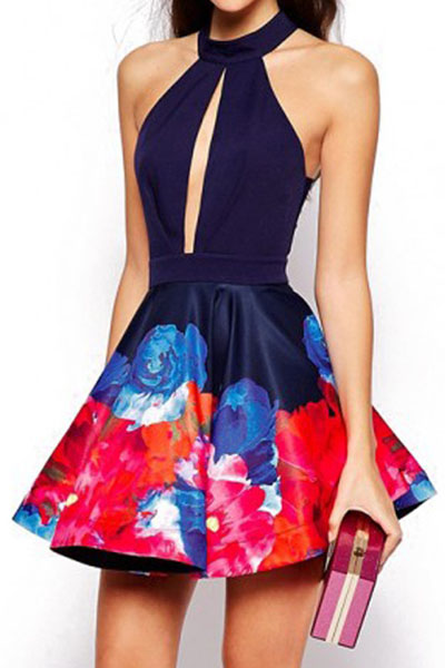 Backless Openwork Floral Print Dress