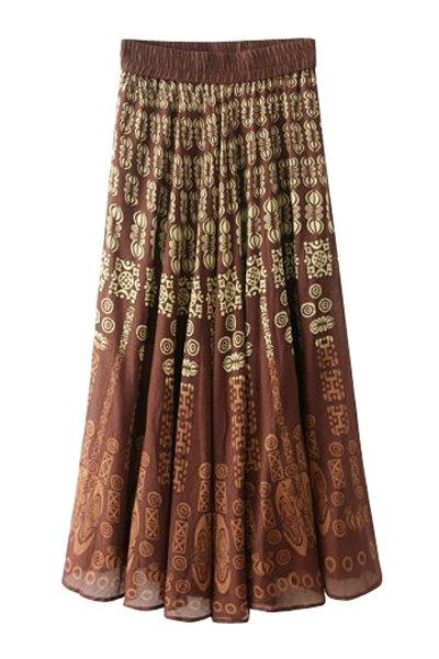 Totem Print Elasitic Waist Long Skirt - DARK AUBURN ONE SIZE(FIT SIZE XS TO M)